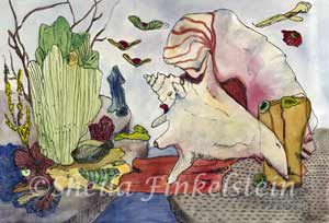 conch and green coral fantasy landscape water color painting