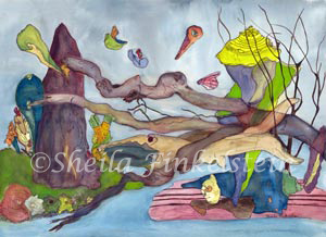 wood fish fantasy landscape watercolor painting